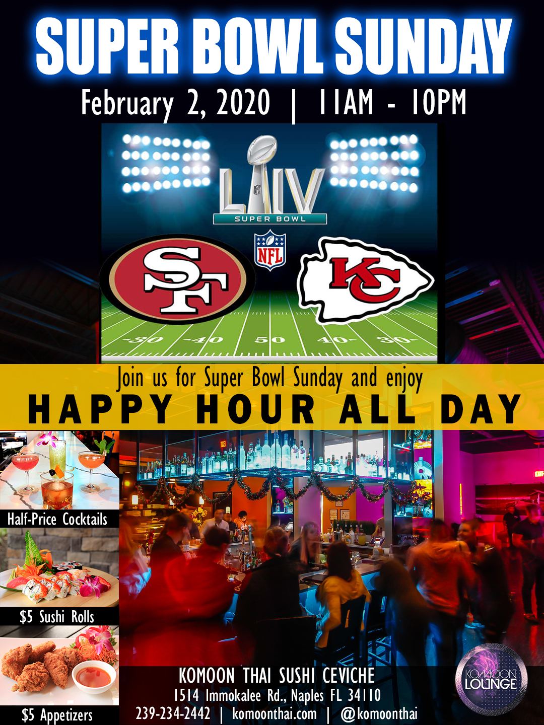 Super Bowl Sunday Happy Hour All Day